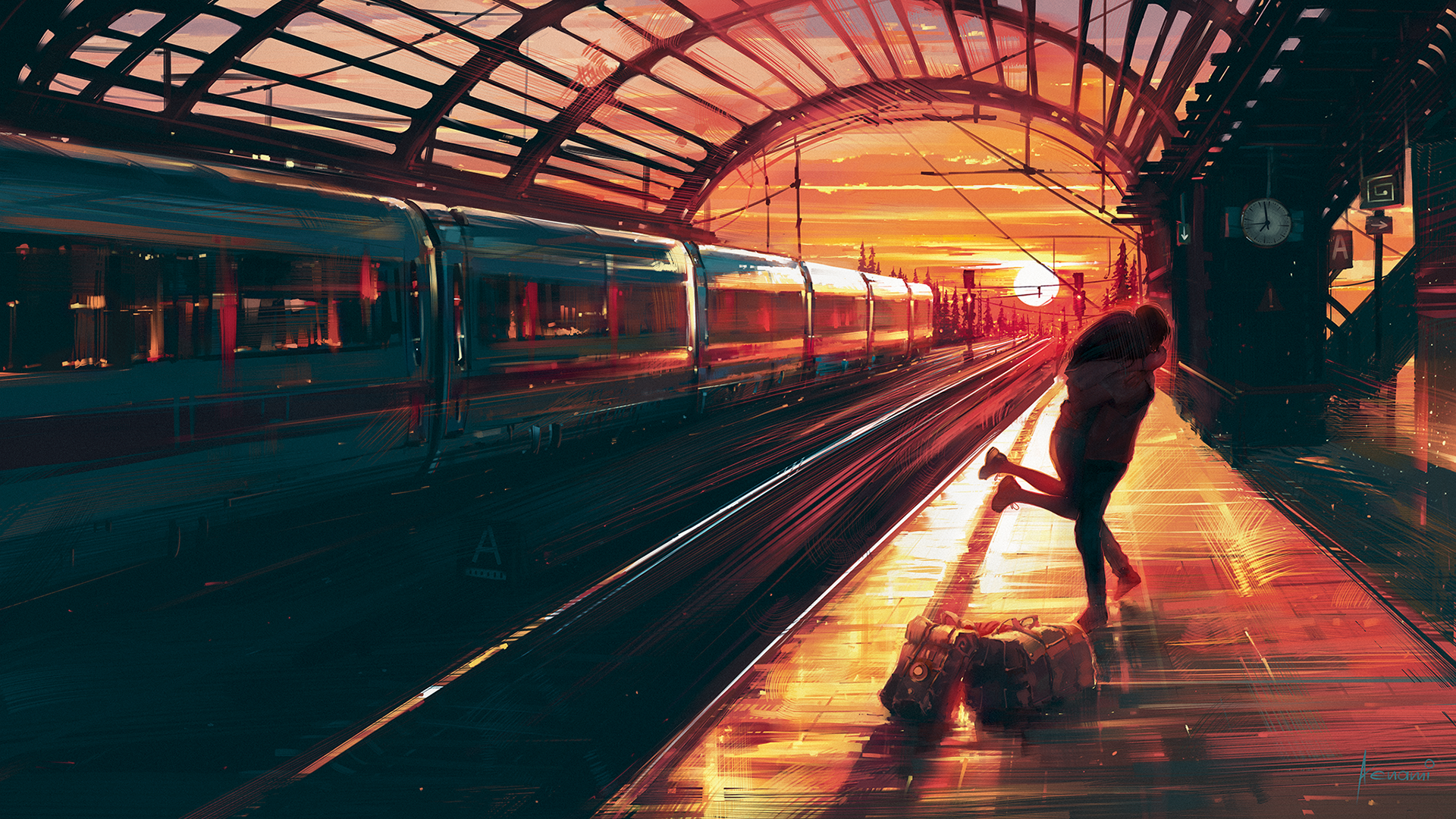 Artistic - Love  Couple Train Train Station Sunset Wallpaper