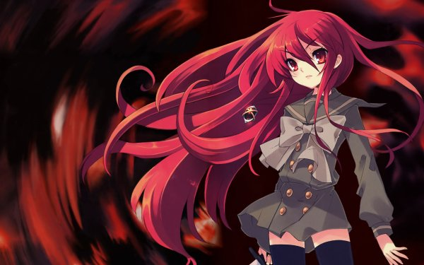 Anime Shakugan No Shana Shana Weapon Sword Thigh Highs Skirt bow HD Wallpaper | Background Image