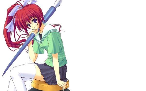 Anime Original Pen Red Hair Ponytail Smile Blush Ink Ribbon Purple Eyes HD Wallpaper | Background Image