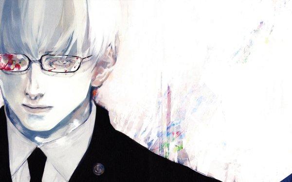 Anime Tokyo Ghoul Kishou Arima Garçon Tokyo Ghoul √A Tokyo Ghoul:re White Hair Glasses Sang White Eyes Fond d'écran HD | Arrière-Plan