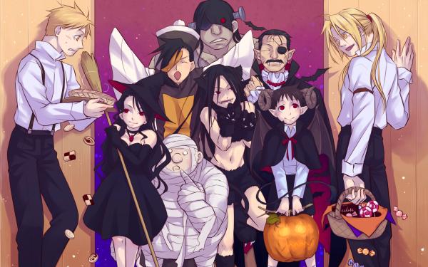 Anime FullMetal Alchemist Fullmetal Alchemist Edward Elric Alphonse Elric Lust Envy Greed Gluttony Pride Halloween Sloth Wrath HD Wallpaper | Background Image
