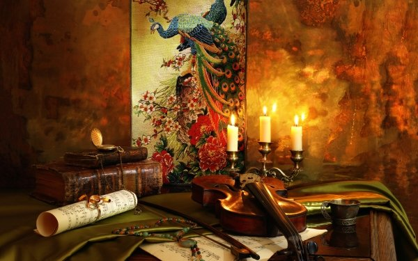 Photography Still Life Violin Sheet Music Candle Book Pocket Watch HD Wallpaper | Background Image