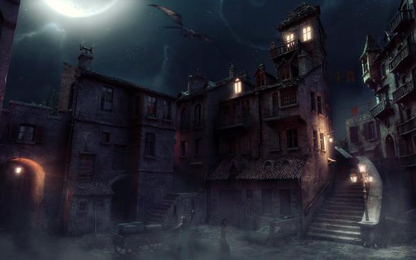 Artistic Building Buildings House Stone Dark Creepy Dragon HD Wallpaper | Background Image