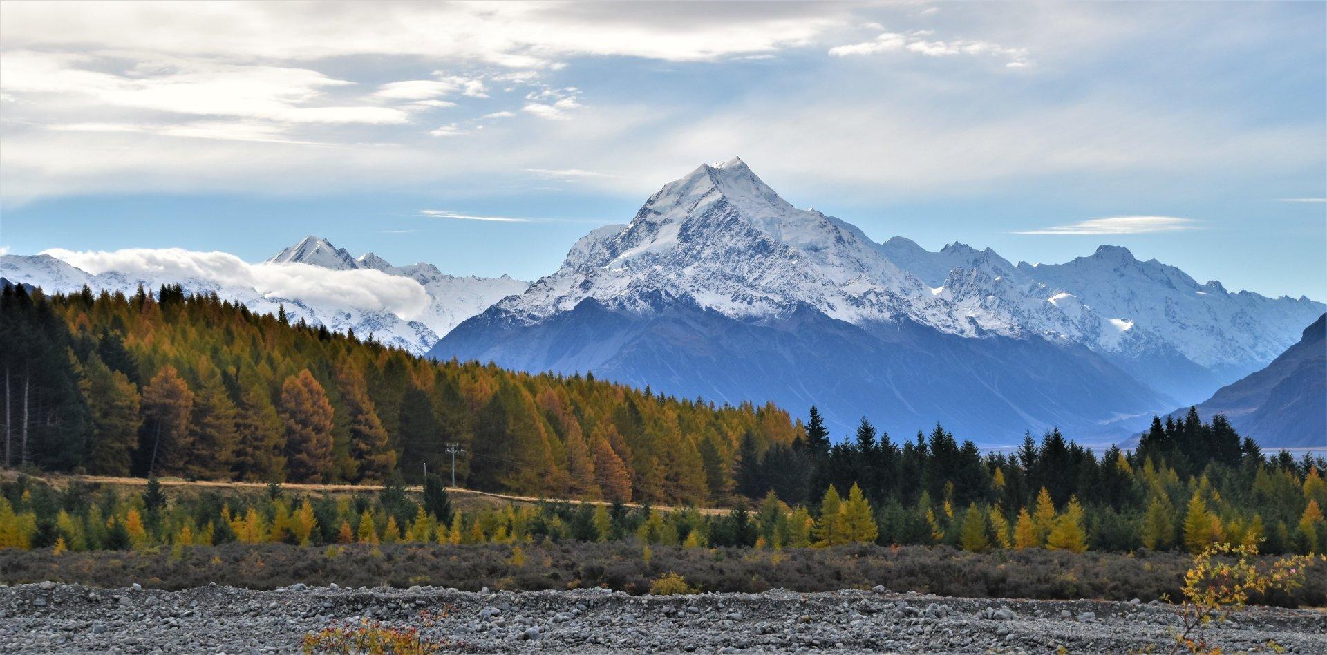 Earth - Aoraki/Mount Cook  Mountain South Island (New Zealand) Southern Alps Landscape Fall Wallpaper