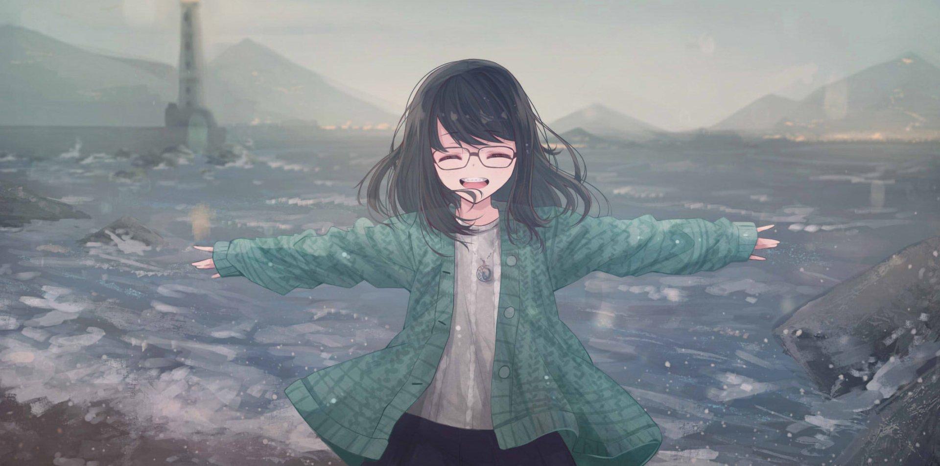 Anime - Original  Lighthouse Sea Glass Jacket Black Hair Wallpaper