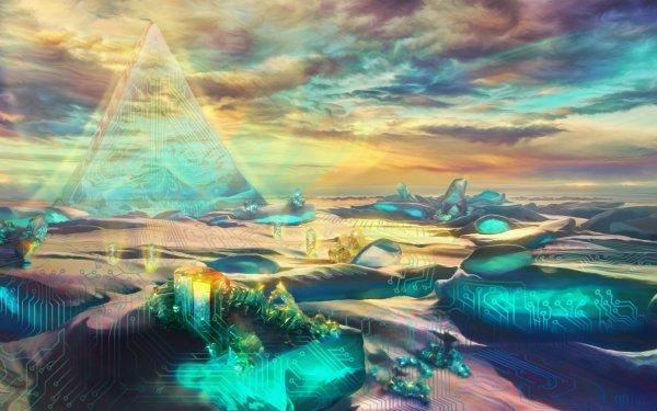 Sci Fi Landscape Pyramid Building Circuit Horizon Cloud HD Wallpaper | Background Image
