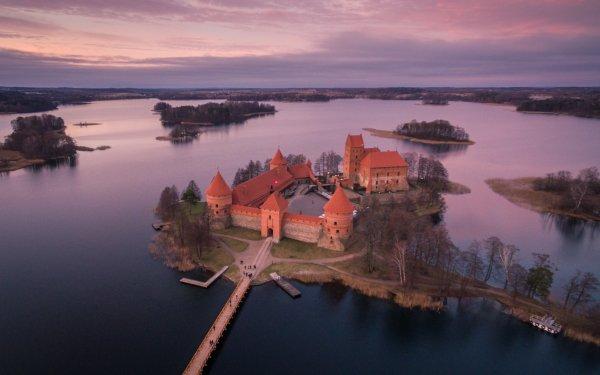Man Made Trakai Island Castle Castles Trakai Castle Lithuania Aerial Horizon Lake HD Wallpaper | Background Image