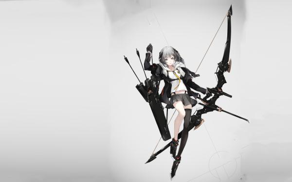 Anime Original Archer Bow Arrow Grey Hair Grey Eyes Short Hair HD Wallpaper   Background Image