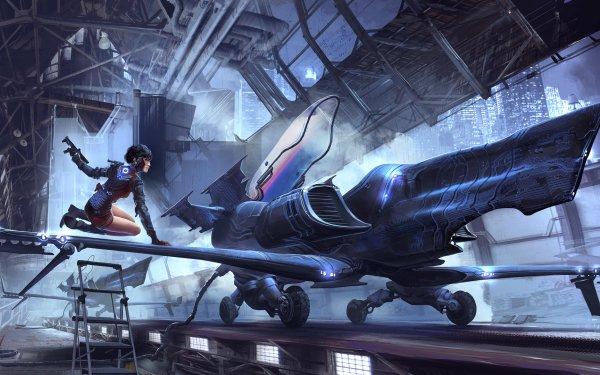 Sci Fi Spaceship Woman Warrior Vehicle Hangar Short Hair Weapon HD Wallpaper | Background Image