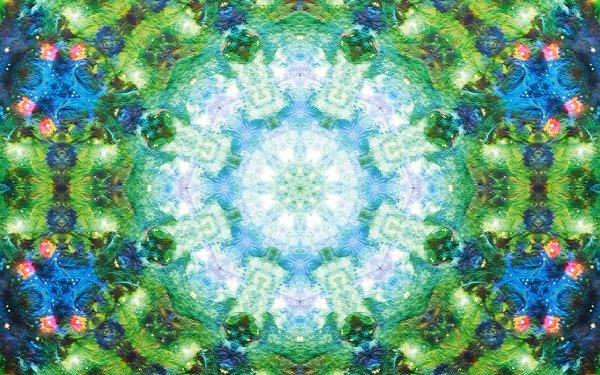 Abstract Pattern Artistic Digital Art Mandala Manipulation Green Blue Mosaic HD Wallpaper | Background Image