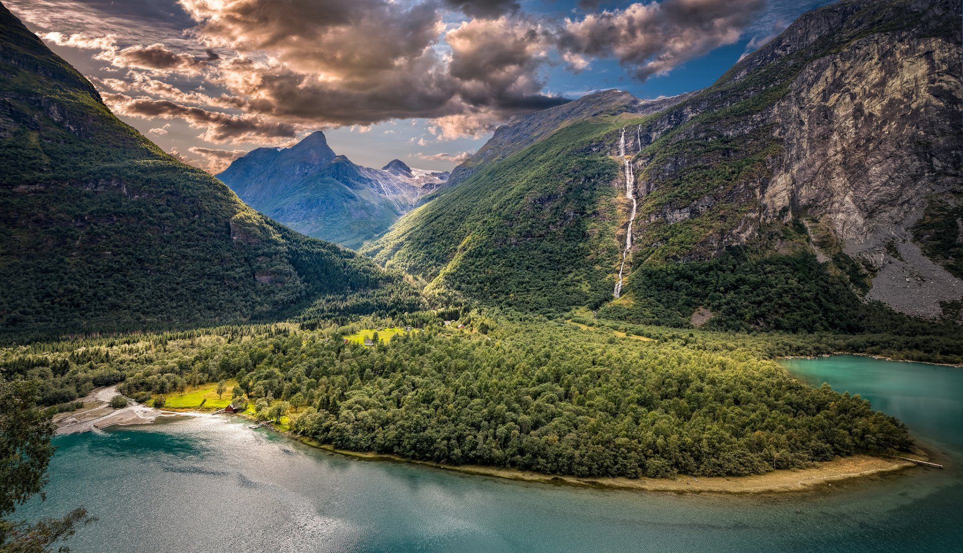 Earth - Fjord  Mountain Norway Landscape Waterfall Forest Cloud HDR Summer Sunshine Wallpaper