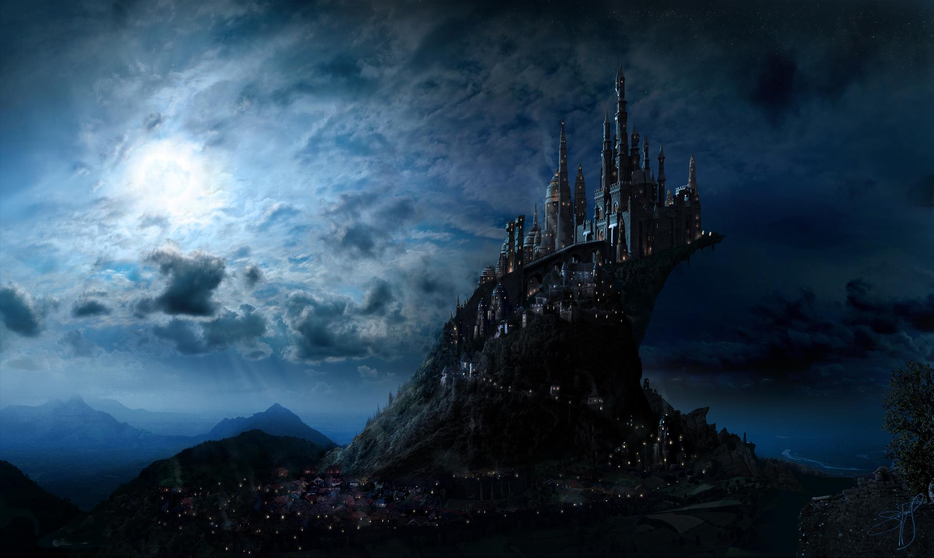 Movie - Harry Potter  Hogwarts Castle Fantasy Landscape Artistic Blue Mountain Castle Wallpaper