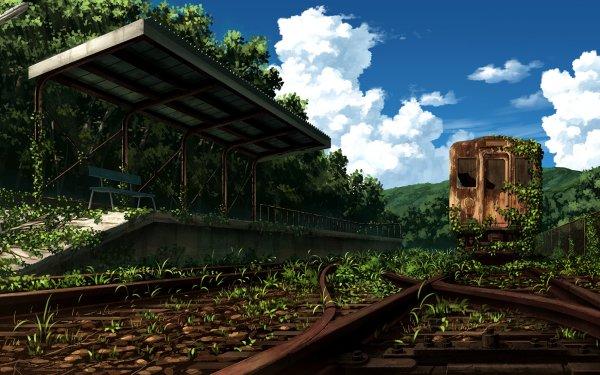 Anime Original Abandoned Train Nature Tree Railroad Train Station Cloud Sky HD Wallpaper | Background Image