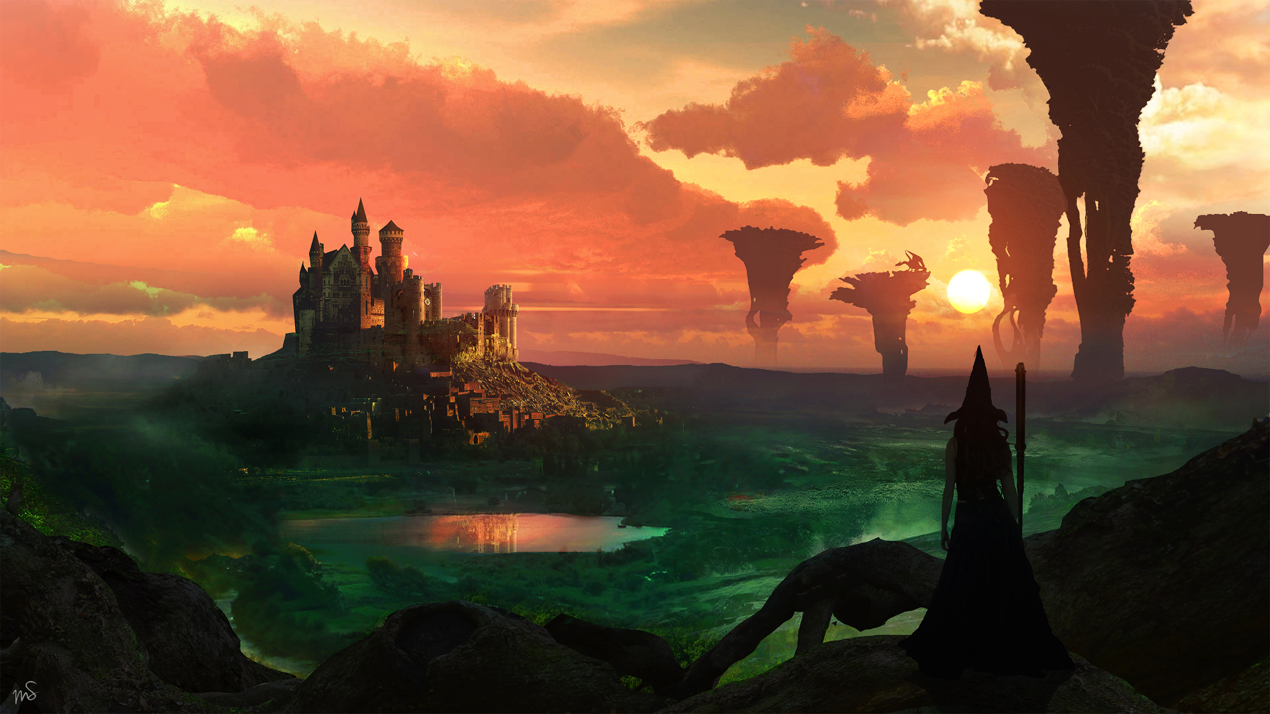 Magic full hd wallpaper and background image 2560x1440 id855868 fantasy castle fantasy witch landscape wallpaper voltagebd Image collections
