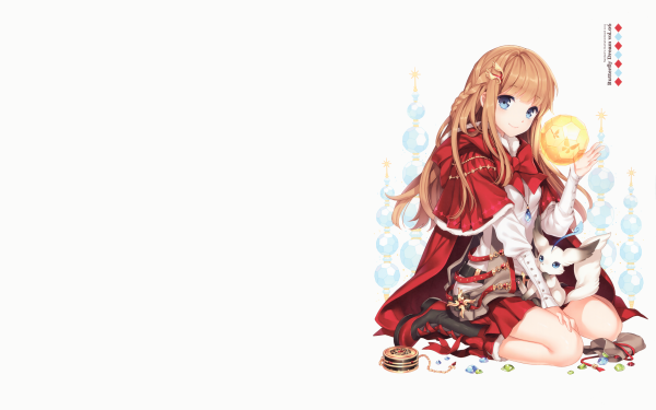 Anime Original Long Hair Blonde Smile Blue Eyes Jewelry bow Cloak Braid Blush HD Wallpaper | Background Image