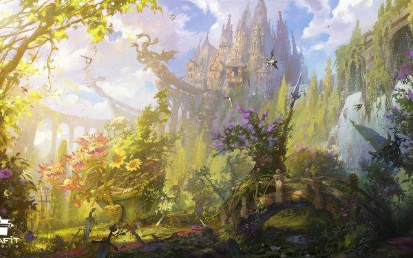 Fantasy Castle Castles Flower Sword HD Wallpaper   Background Image