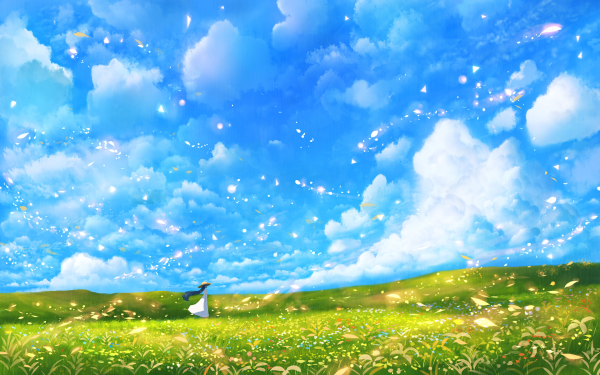 Anime Original Cloud Dress Hat Long Hair Meadow Petal Scenic Sky HD Wallpaper | Background Image