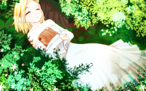 Anime The Seven Deadly Sins Elaine Book Blonde Nature Dress White Dress HD Wallpaper   Background Image
