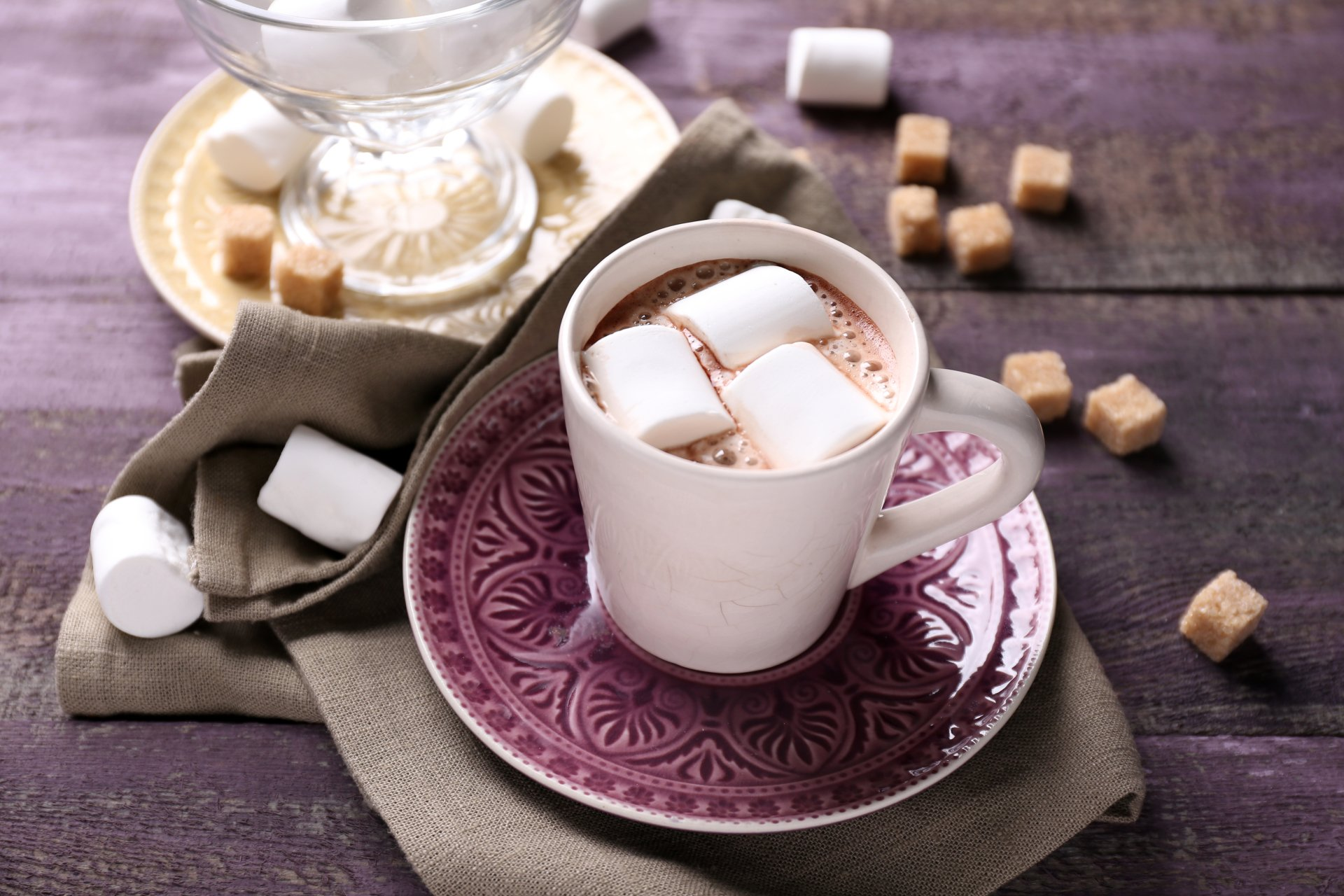 Food - Hot Chocolate  Still Life Cup Sugar Marshmallow Wallpaper