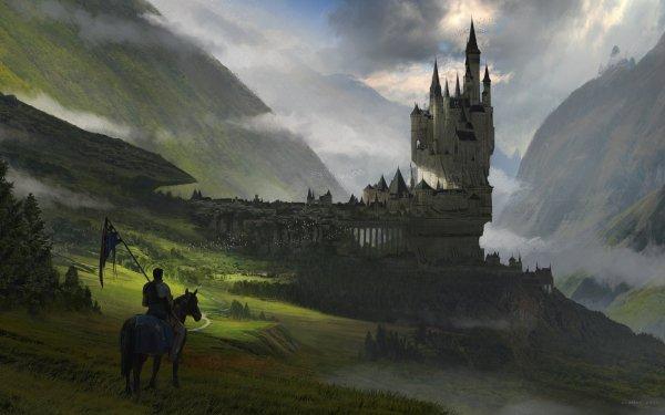 Fantasy Castle Castles Landscape Fog Horse Warrior City HD Wallpaper | Background Image
