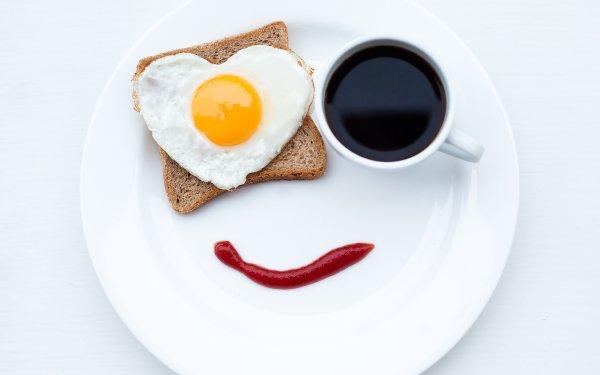 Alimento Desayuno Huevo Cara Café Cup Pan Fondo de pantalla HD | Fondo de Escritorio