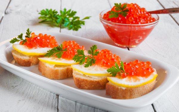 Alimento Caviar Marisco Toast Fondo de pantalla HD | Fondo de Escritorio