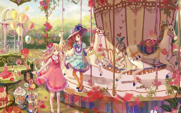 Anime Original Blonde Brown Hair Hat Flower Amusement Park Dress Thigh Highs HD Wallpaper | Background Image