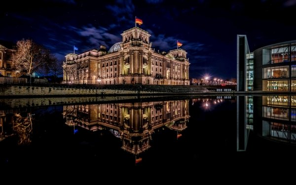 Man Made Building Buildings Architecture Night Reflection Berlin HD Wallpaper   Background Image