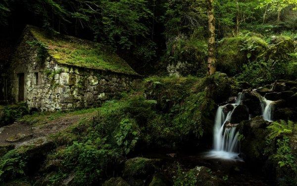 Hecho por el hombre Edificio Edificios Piedra Cabaña Cascada Greenery Fondo de pantalla HD | Fondo de Escritorio