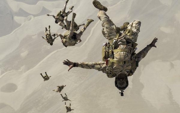 Militaire Paratrooper Parachuting Air Force Soldat Fond d'écran HD | Image