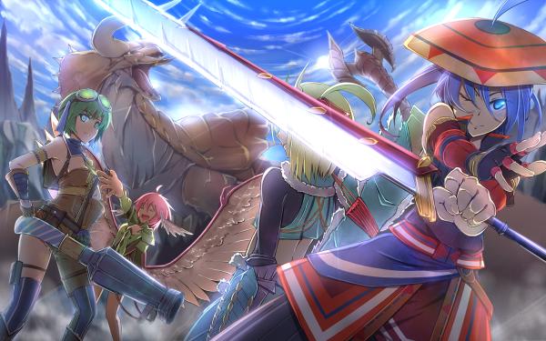 Anime Crossover Monster Hunter Touhou Cirno Rumia Wriggle Nightbug Mystia Lorelei HD Wallpaper | Background Image