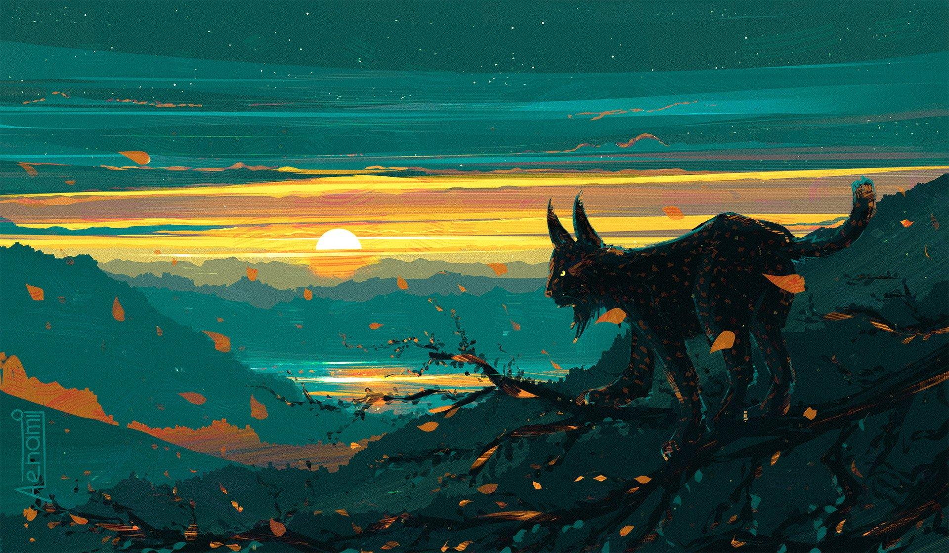 Fantasy - Animal  Lynx Sunset Landscape Big Cat Artistic Wallpaper