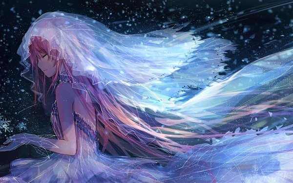 Anime Puella Magi Madoka Magica Bride Winter Veil Snowflake Long Hair Pink Hair Madoka Kaname HD Wallpaper | Background Image