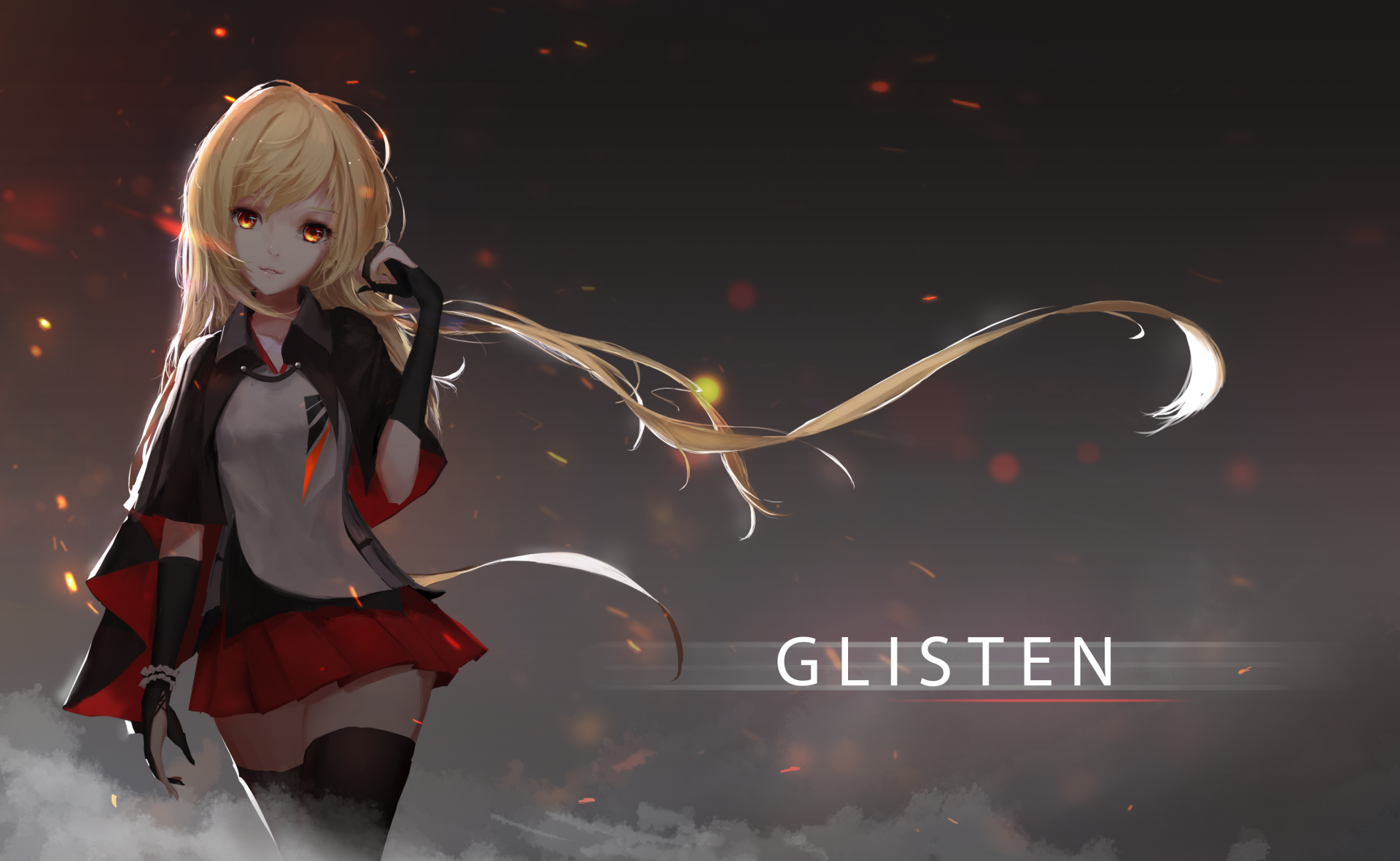 Anime - Original  Blonde Dress Long Hair Smoke Coat Thigh Highs Red Eyes Wallpaper