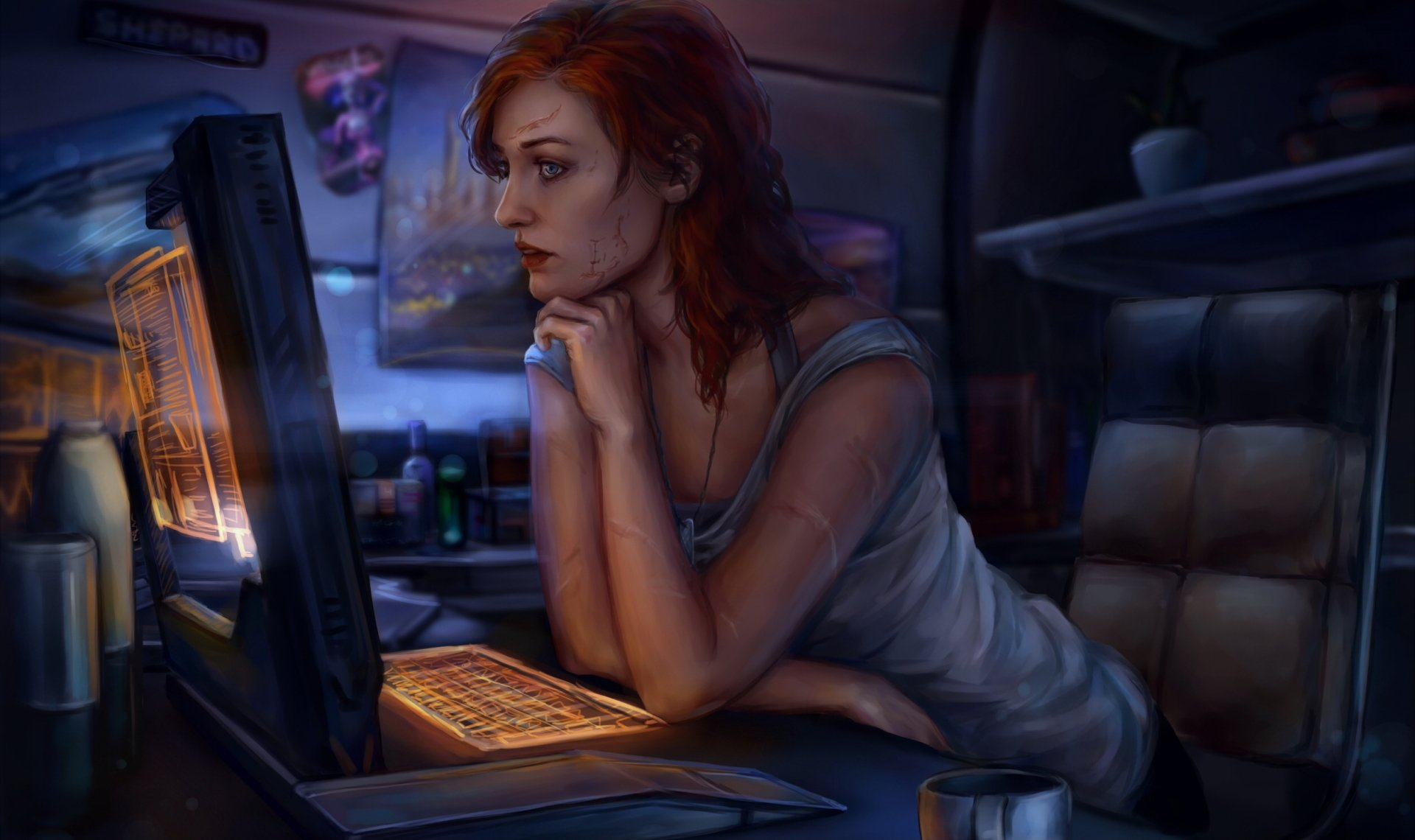 Video Game - Mass Effect  Commander Shepard Girl Woman Redhead Blue Eyes Lipstick Scar Sci Fi Wallpaper