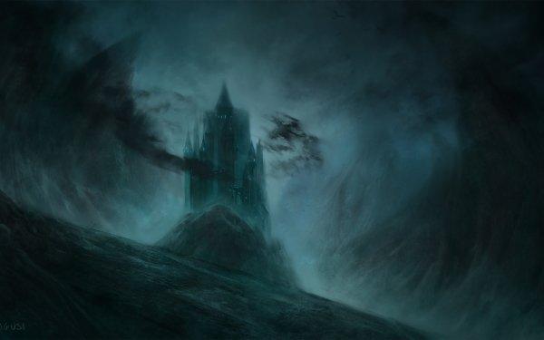 Oscuro Castle Castillos Edificio Montaña Fondo de pantalla HD | Fondo de Escritorio