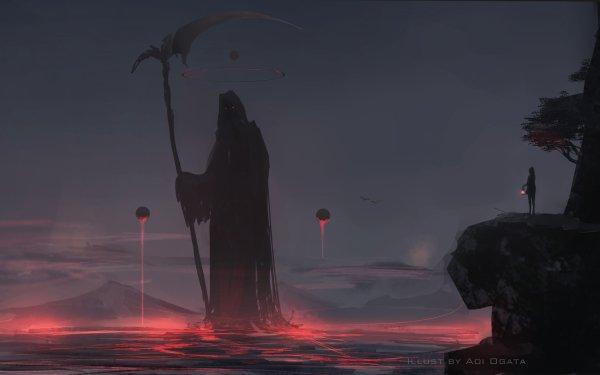 Anime Original Mond Nacht Laterne Scythe HD Wallpaper | Hintergrund