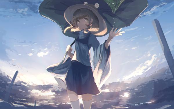 Anime Touhou Suwako Moriya Skirt Hat Short Hair Leaf Thigh Highs HD Wallpaper | Background Image