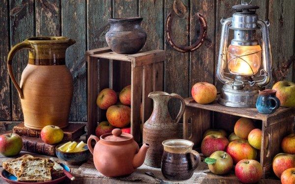 Photography Still Life Lantern Apple Vase Teapot HD Wallpaper | Background Image
