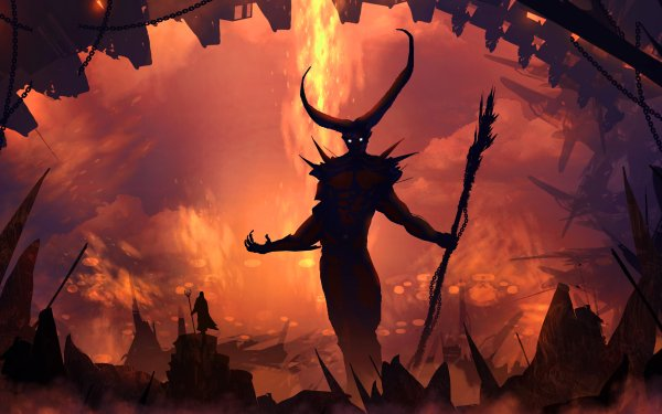 Fantasy Demon Horns Giant Staff Cave HD Wallpaper | Background Image