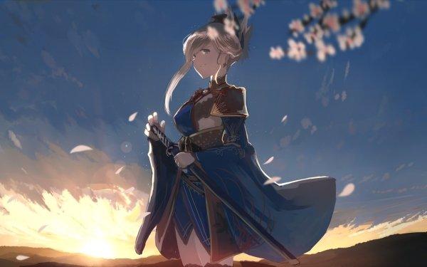Anime Fate/Grand Order Fate Series Miyamoto Musashi Long Hair White Hair Ponytail Blue Eyes Sword Smile Weapon Dress Sunset HD Wallpaper | Background Image