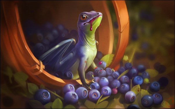 Fantasy Dragon Fruit Blueberry Berry HD Wallpaper   Background Image