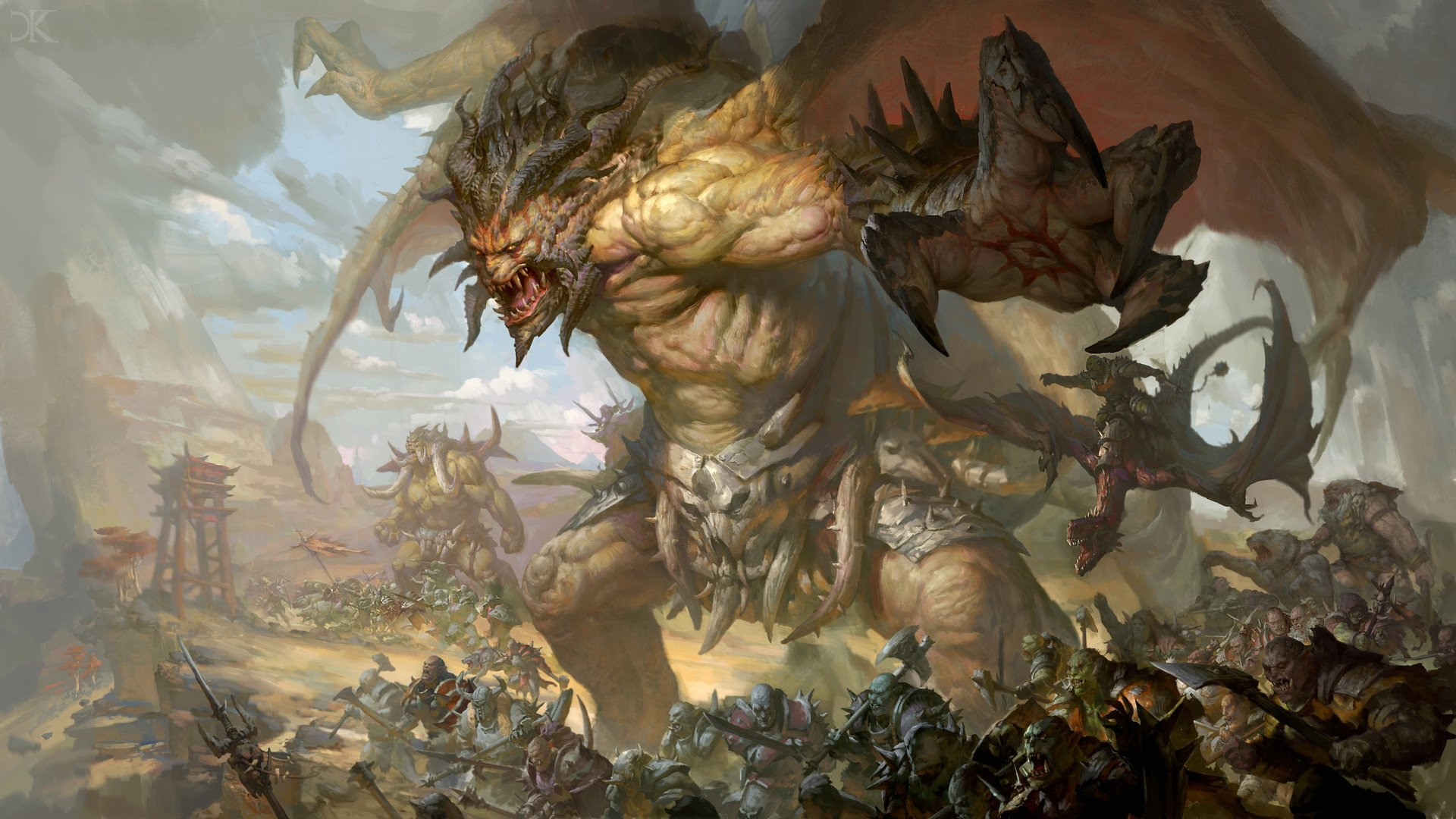 Fantasy - Creature  Battle Orc Warrior Horns Wings Wallpaper
