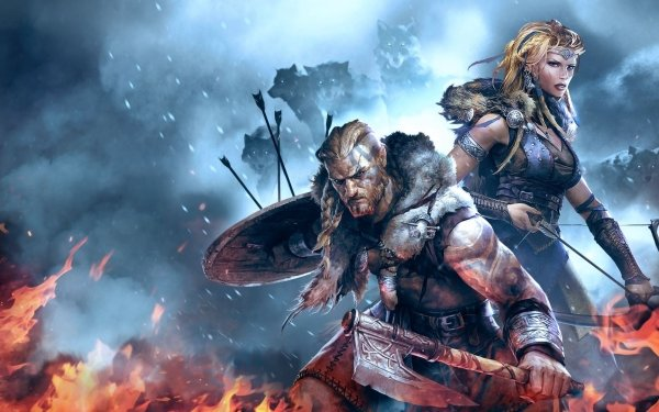 Video Game Vikings: Wolves of Midgard Warrior Viking Woman Warrior Wolf HD Wallpaper   Background Image