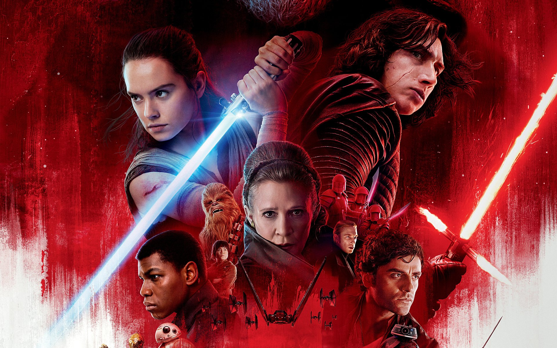 Movie - Star Wars: The Last Jedi  Star Wars Rey (Star Wars) Daisy Ridley Finn (Star Wars) John Boyega Carrie Fisher Leia Organa Adam Driver Kylo Ren Chewbacca Lightsaber Poe Dameron Wallpaper