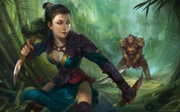 Fantasía Mujeres Guerrera Woman Warrior Black Hair Dagger Bambú Guerrero Espada Ponytail Fondo de pantalla HD | Fondo de Escritorio