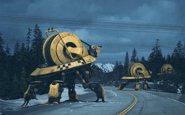 Sci Fi Robot Road Futuristic HD Wallpaper | Background Image