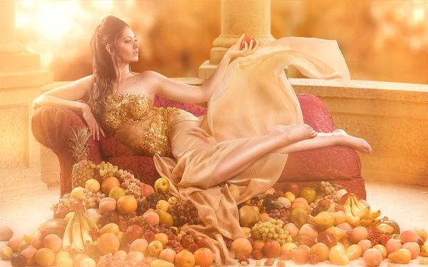 Women Mood Woman Terrace Couch Fruit Girl Feet HD Wallpaper | Background Image