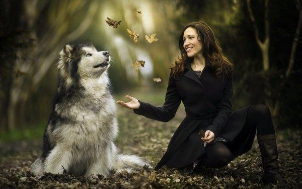 Women Mood Alaskan Malamute Model Dog Depth Of Field Smile Brunette HD Wallpaper | Background Image