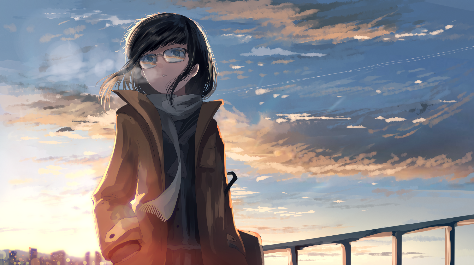 Anime - Original  Scarf Coat Cloud Black Hair Sky Glasses Girl Wallpaper